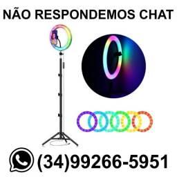Título do anúncio: Ring Light 26cm Colorido c/ Tripé 2m * Fazemos Entregas