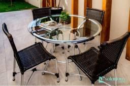 VERÃO 2019 - Conjunto com mesa e 4 cadeiras em alumínio e fibra sintética