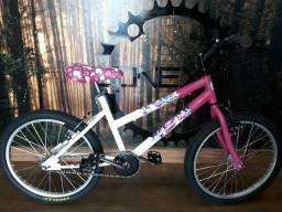 Bicicleta Infantil Aro 20 Branco Rosa Princesas