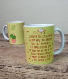 Caneca de cerâmica personalizada (I love you) dia dos namorados