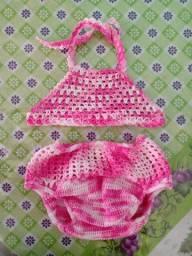 Conjunto Crochê calcinha e top veste até 1 ano