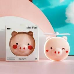 Espelho De Maquiagem Led Portátil Porquinho Mini Ventilador