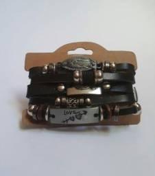 Kit com 3 pulseiras de couro
