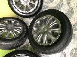Jogo rodas 5 furos Vectra GM com pneus mais Step