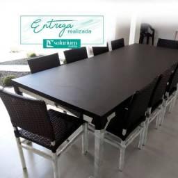 TODAS AS CORES - Mesa com 10 cadeiras em alumínio e fibra sintética