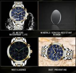 Relógios Homens De Luxo Lige Cronógrafo Caixa De Aço
