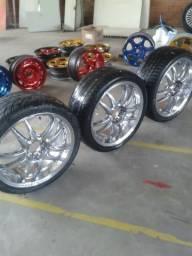 Rodas multifuros 18 cromadas com pneus parcelo no cartão - barbada torrando