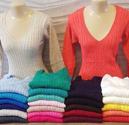 Blusa tricot linha gola v manga longa