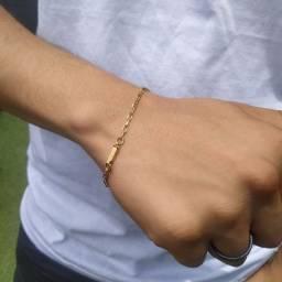 Pulseira Masculina Cartier Quadrada 20cm Folheado a Ouro