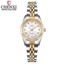 Chenxi ouro & prata clássico relógio de quartzo feminino elegante