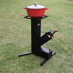 Fogão a Lenha Portátil - Wood Burning Stove - Fogão Foguete