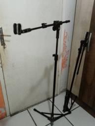 2 pedestais para microfone, tripé para microfone