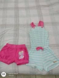 Macaquinho listrado azul e rosa e short rosa tam 2 a 3