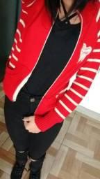 Blusinha vermelha e branca listrada natalina