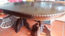 Conjunto de Mesa e 6 cadeiras Madeira Anos 80