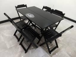 Mesa de Madeira 120x70 com 6 Cadeiras - dobrável