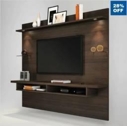 Painel para TV até 60 Polegadas 4 Prateleiras Veneza Espresso Móveis Chocolate Wood