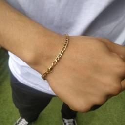 Pulseira Masculina 3x1 Fina 20cm Folheada a Ouro