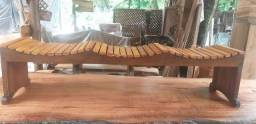 Banco rústico ripado - madeira de lei