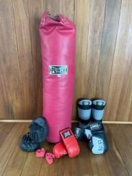 Saco de pancada Punch profissional 120 cm + Acessorios