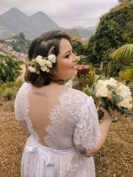 Vestido Noiva Renda - Plus Size - Religioso Civil Cartório Casamento Pre Wedding