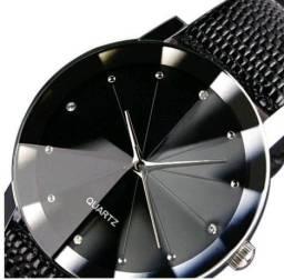 Relógio Quartz Preto Unissex Pulseira E Fundo Pretos
