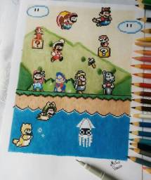 Desenhos pixel art Feitos a mão no Tamanho A4 e coloridos com lapis de cor
