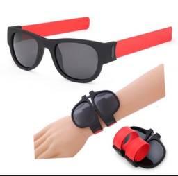 Título do anúncio: Óculos De Sol Vermelho Slap Pulseira Unissex Dobrável