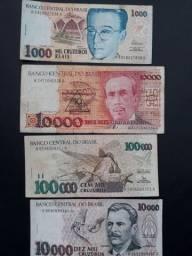 4 cédulas originais do Brasil