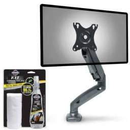 Suporte Monitor F80n Elg Pistão A Gás + Kit Limpa Telas