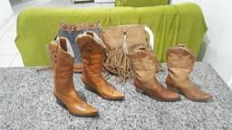 Botas de couro bolsas e sapato