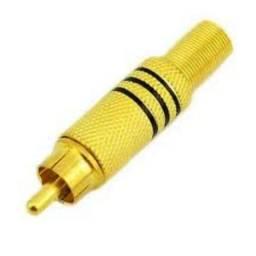 1 par plug rca macho dourado estereo - anuncio de loja