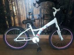 Bicicleta Infantil Aro 20 Branca Rosa