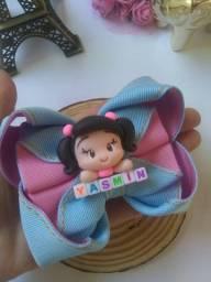 Laço Infantil bonequinha de biscuit nome Yasmin