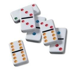 Título do anúncio: Jogo De Domino Double 6 Color Dot Lata Com 28 Peças Colorido