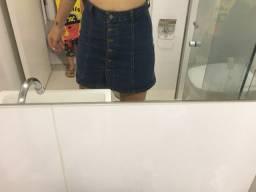 saia jeans cintura alta de botao 38