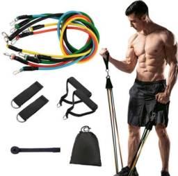 Kit Elástico Extensor 11 Peças Treinamento Fitness Treinos Corpo Todo Em Casa (A101)
