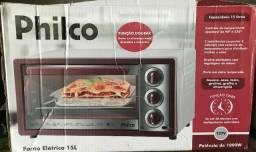 Forno eletrico philco 15l novo vermelho