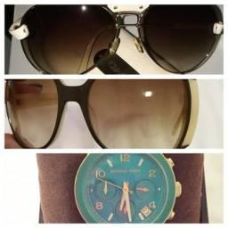 Óculos MarcJacobs e Chloe, Relógio MK semi-novos