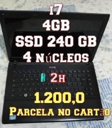 Notebook i7 - 4GB + SSD de 240GB - 4 núcleos