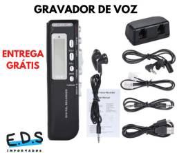 Gravador de Voz Espião e Digital Com Fone de Ouvido e 8Gb de Memória