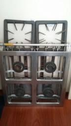 Fogão industrial 04bocas duplas 40x40 sem forno em aço inox Metalmaq