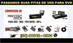 Conversão Fitas VHS para DVD e LPS para CD, pen drive e Hd Externo