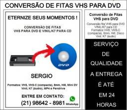 Conversão Fitas Vhs, disco vinil e fita cassete para arquivo digital