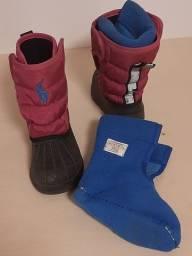 Título do anúncio: Bota/galocha para inverno Ralph Lauren,  número 20. Forro azul,  fita refletiva.