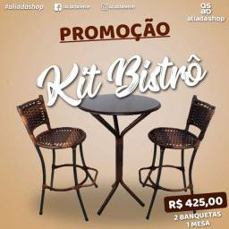 kit mesa bistrô com Banquetas de Junco- Entrega Grátis
