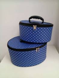Kit Necessaire Azul com bolinha Tamanho Grande e Médio