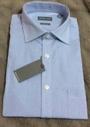 Camisa Social Michael Kors Regular Fit Azul Xadrez - Cod 85