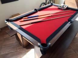 Mesa de Sinuca Cor Imbuia Bordas Pretas Tecido Vermelho Tx Modelo KFZ7139