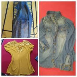 Uma jaqueta e uma blusa
